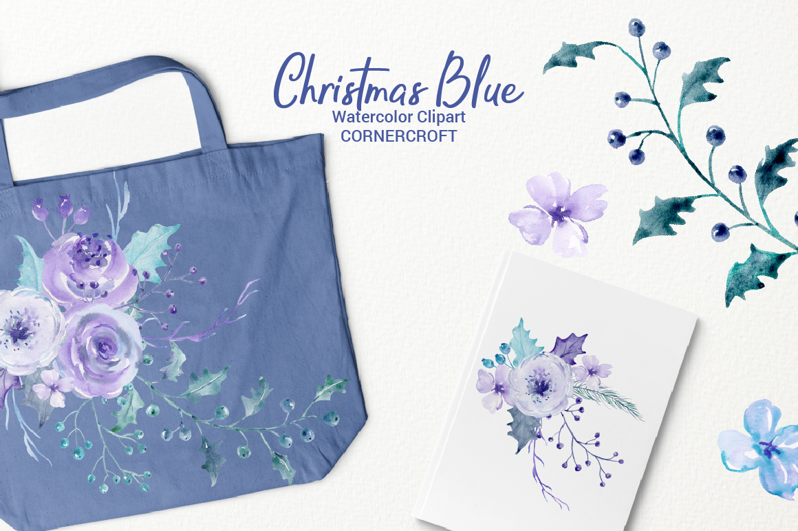 Watercolor Clip Art Christmas Blue example image 7