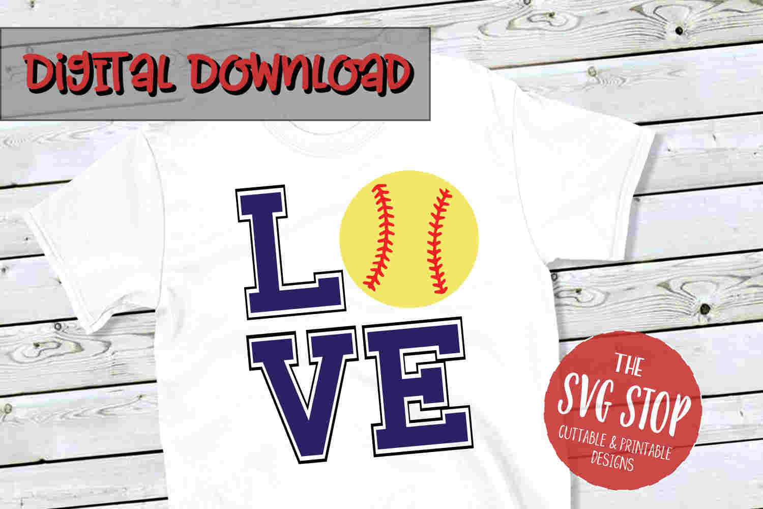 Love Softball 4-SVG, PNG, DXF example image 1