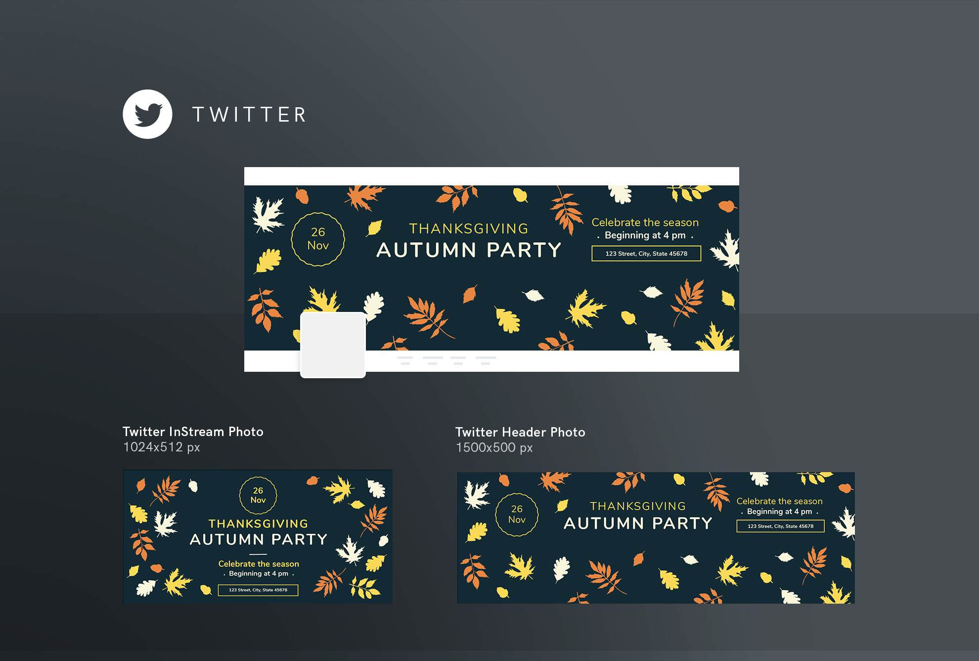 Thanksgiving Autumn Party Design Templates Bundle example image 10
