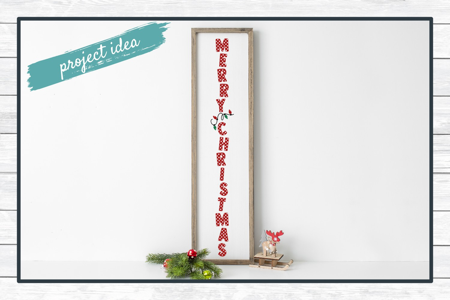 Merry Christmas Holiday Porch Sign Design - Christmas SVG Cu example image 2