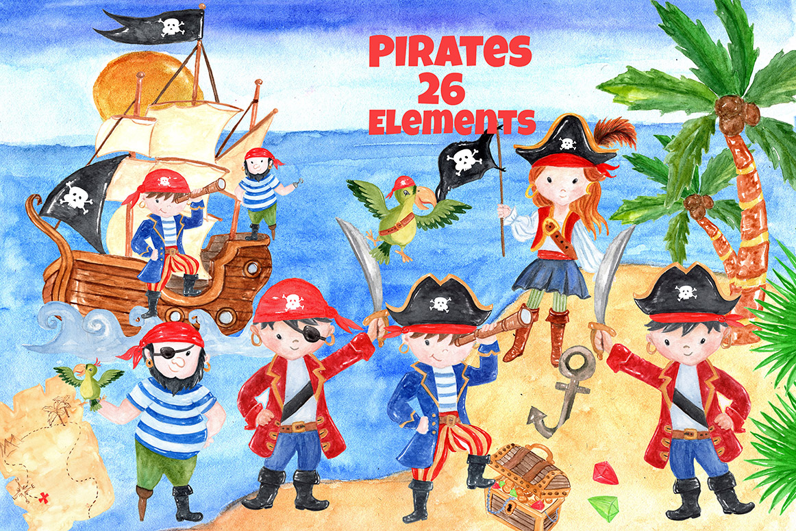 Pirate kids clipart example image 3