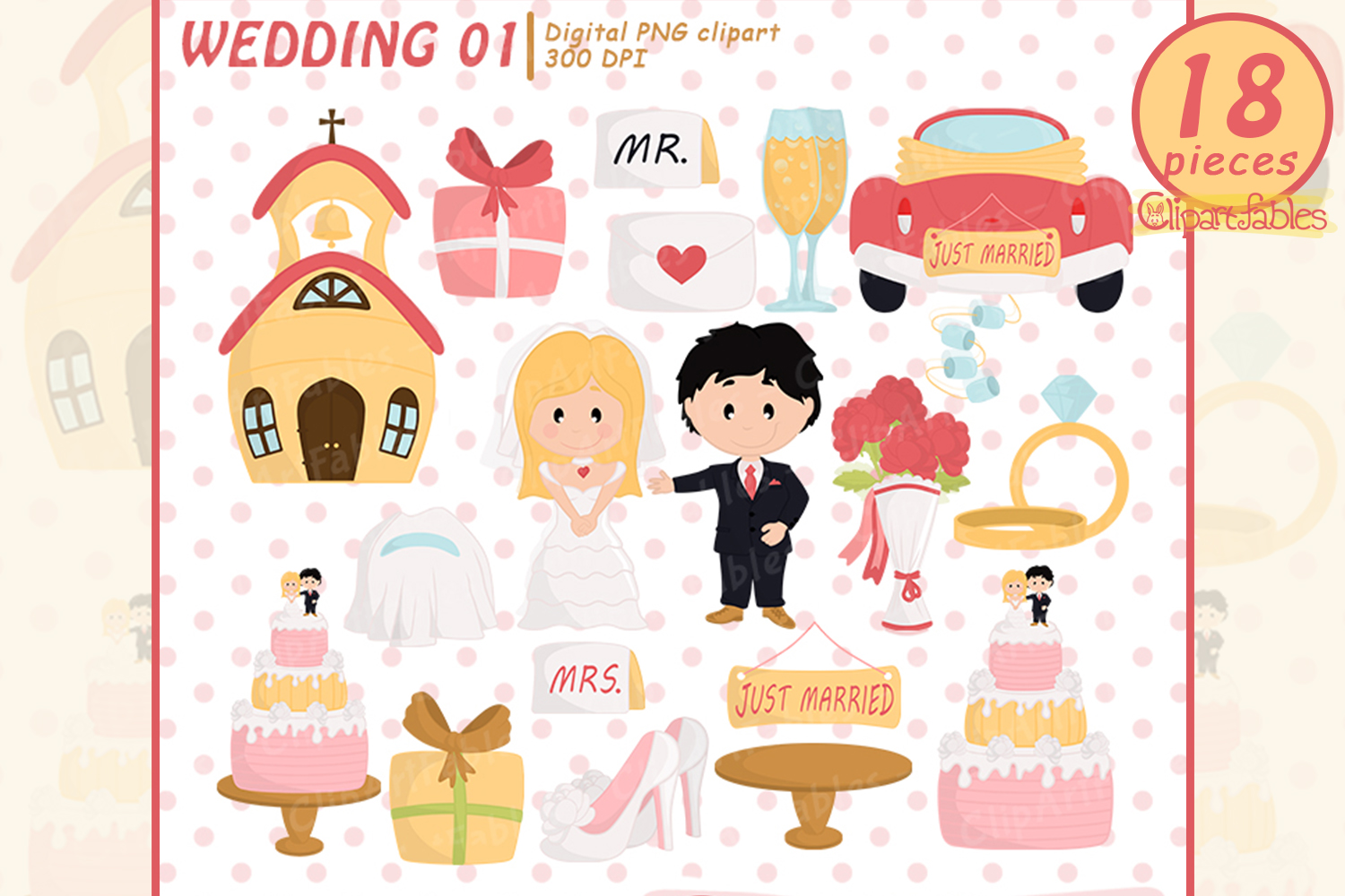 Wedding clipart, Just married clip art, LOVE art - INSTANT example image 1