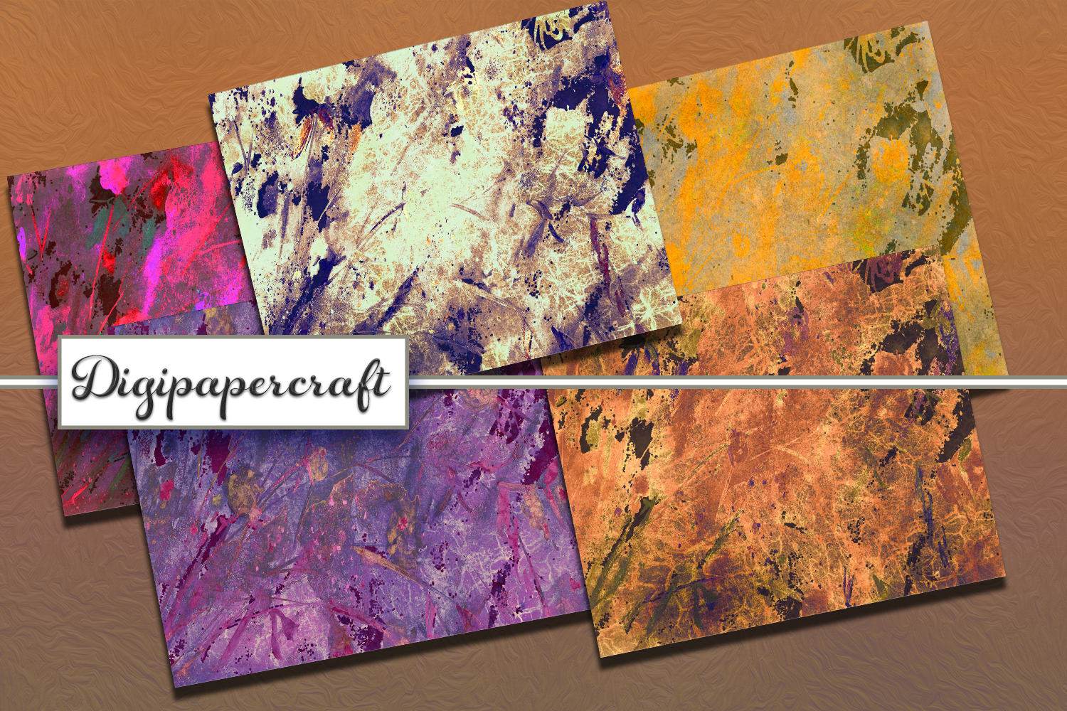 Rustic Digital scrapbook paper pack. Abstract grunge styles. example image 5