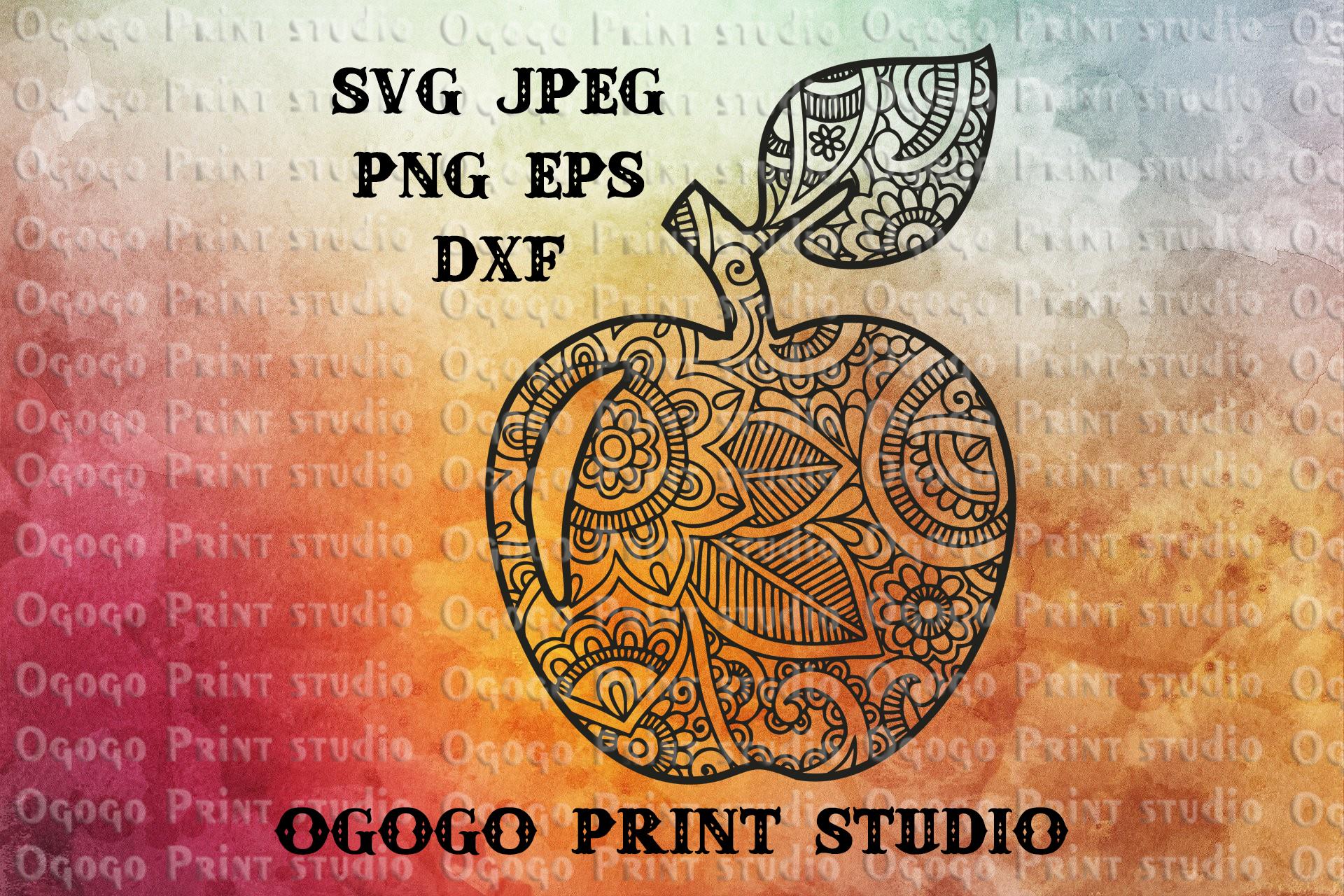 Apple SVG, Zentangle Svg, Teacher Apple SVG, Mandala svg example image 1