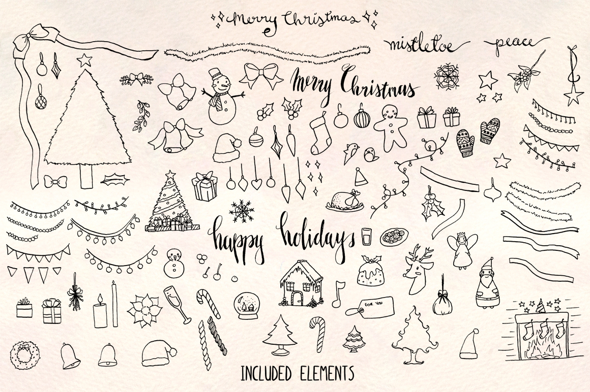 120 Christmas Holiday Vector Illustrations example image 1