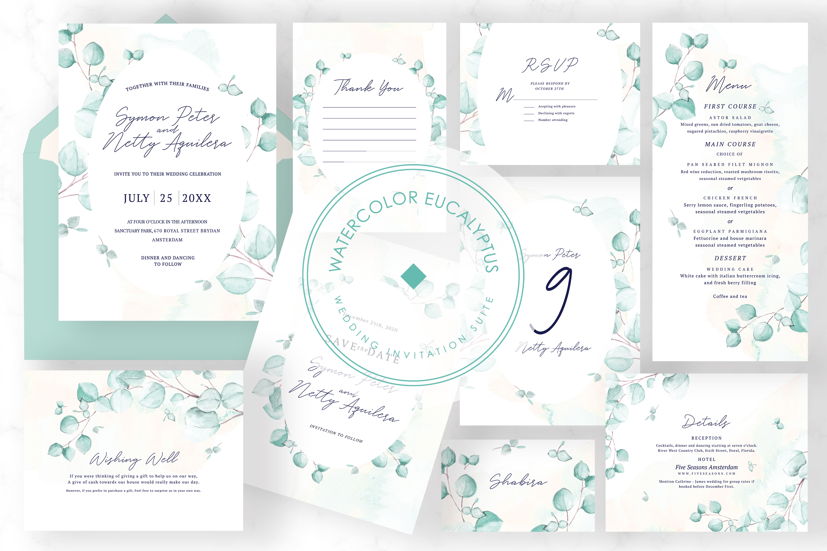 Watercolor Eucalyptus Wedding Suite example image 1