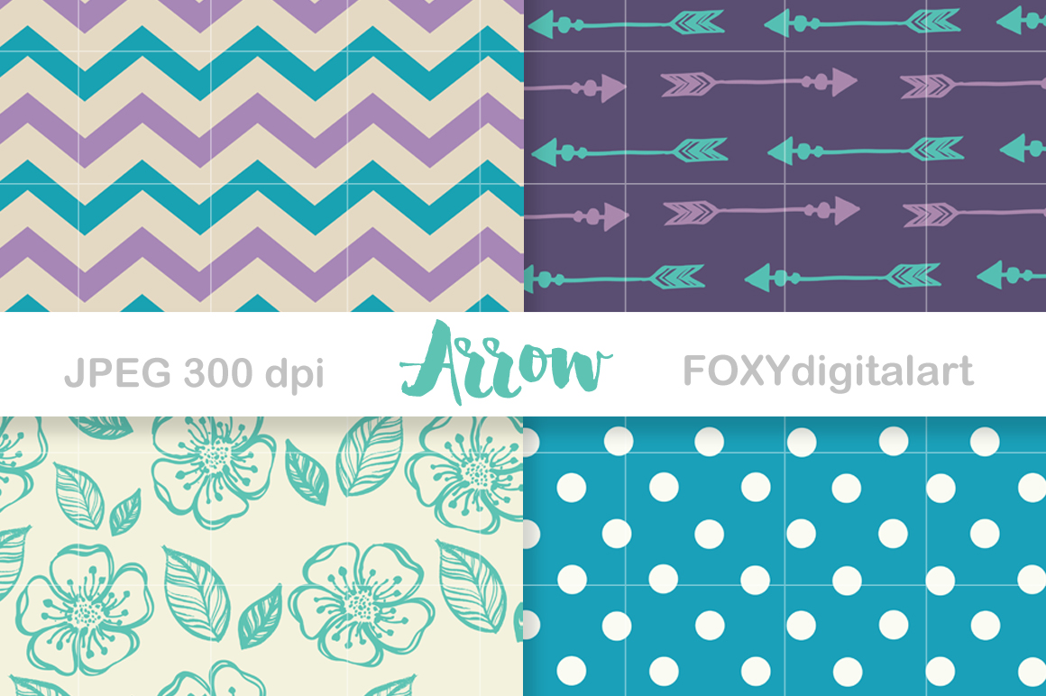 Digital paper arrow aztec tribal native bohemian hipster example image 2