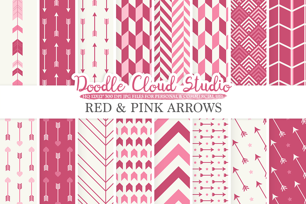 Red and Pink Arrows digital paper Purple Wine Arrow patterns tribal archery chevron triangles backgrounds for Personal & Commercial Use example image 1