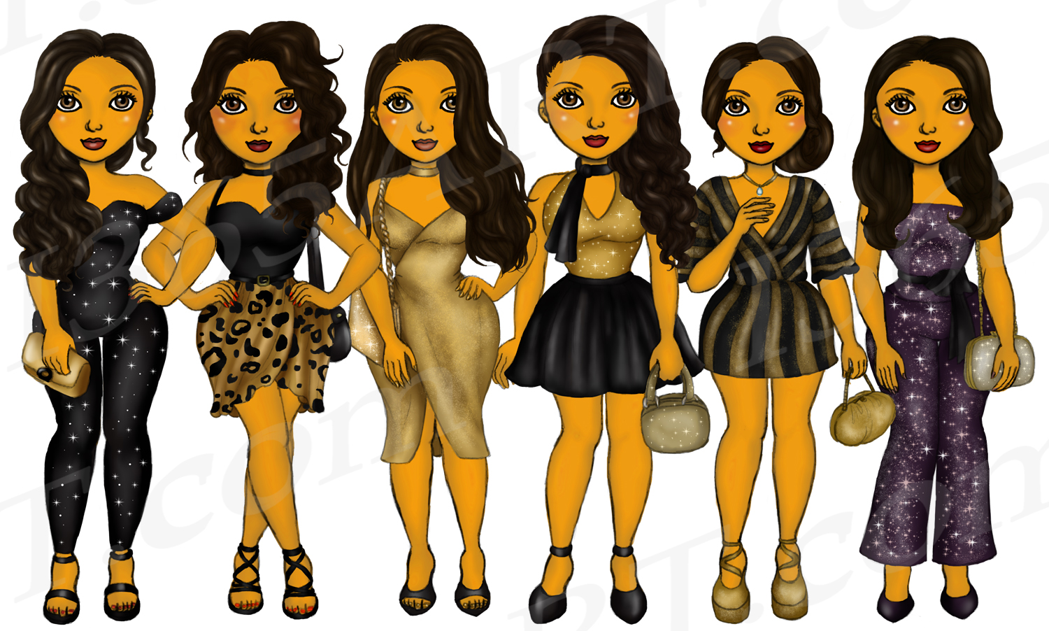New Years Eve Party Brown Skin Tan Girls Fashion Clipart example image 2