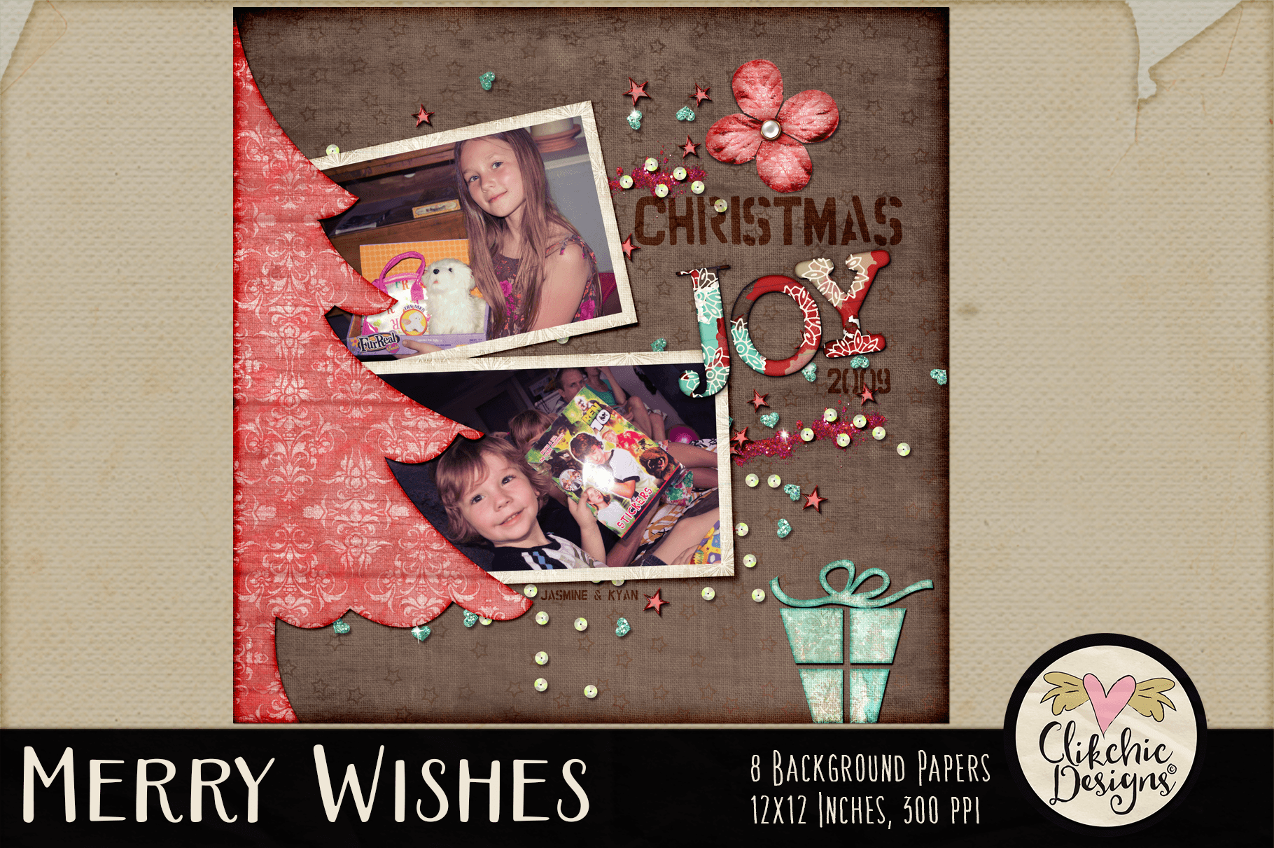 Christmas Backgrounds - Merry Wishes Digital Papers Textures example image 8