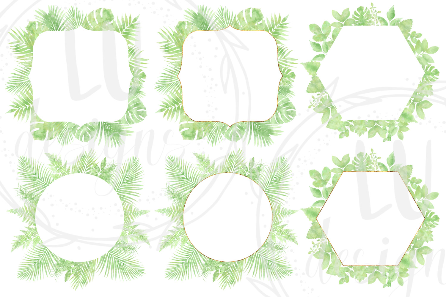 Watercolor Greenery Frames example image 3