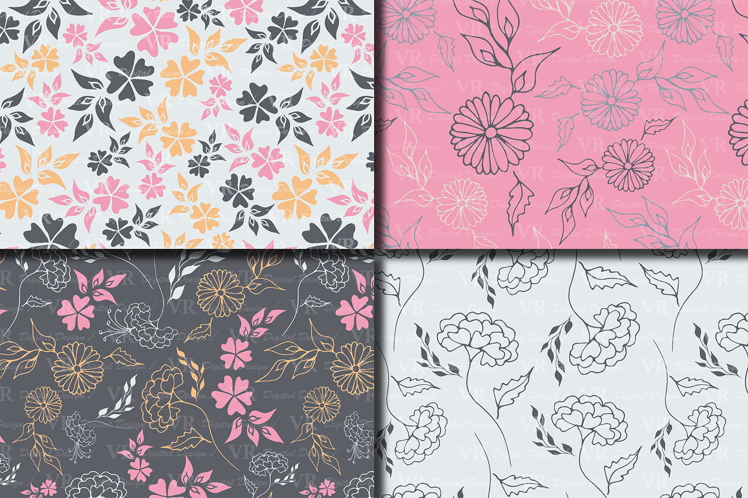Seamless Elegant Floral Digital Paper with hand drawn flowers - Gray Blue Peach Pink example image 2