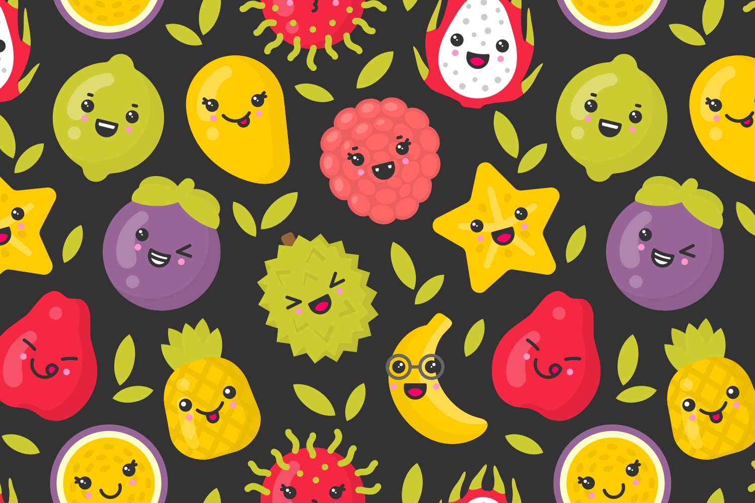4 cute exotic fruits patterns example image 3