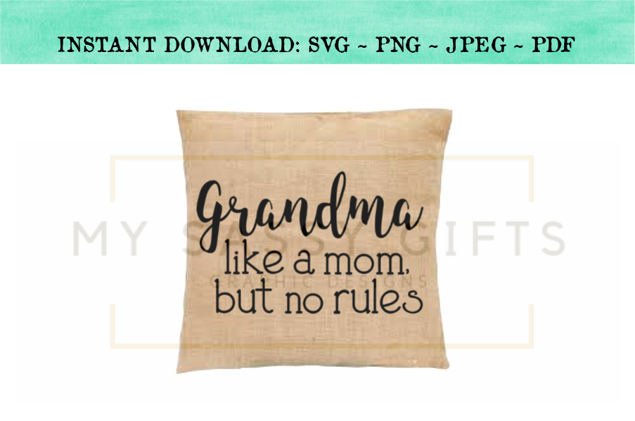 Funny Grandma A Mom Without Rules Baby Announcement SVG example image 2