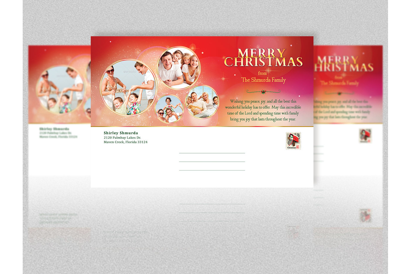 Merry Christmas Postcard Template example image 4