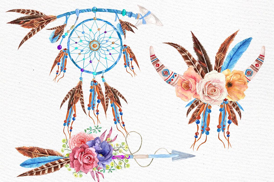 Watercolor tribal set  example image 2