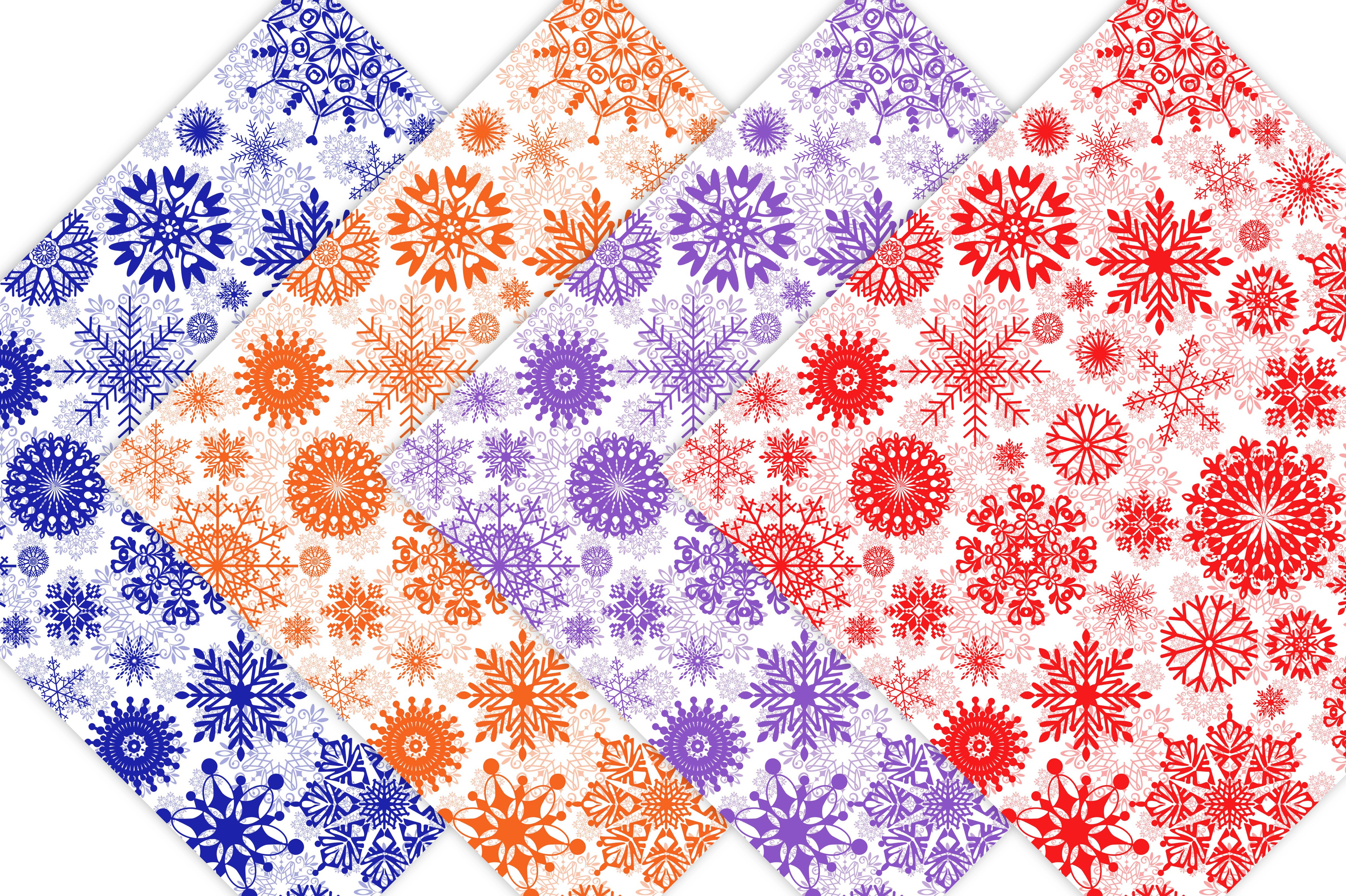 Winter Digital Paper Pack - Snowflake Patterns example image 6