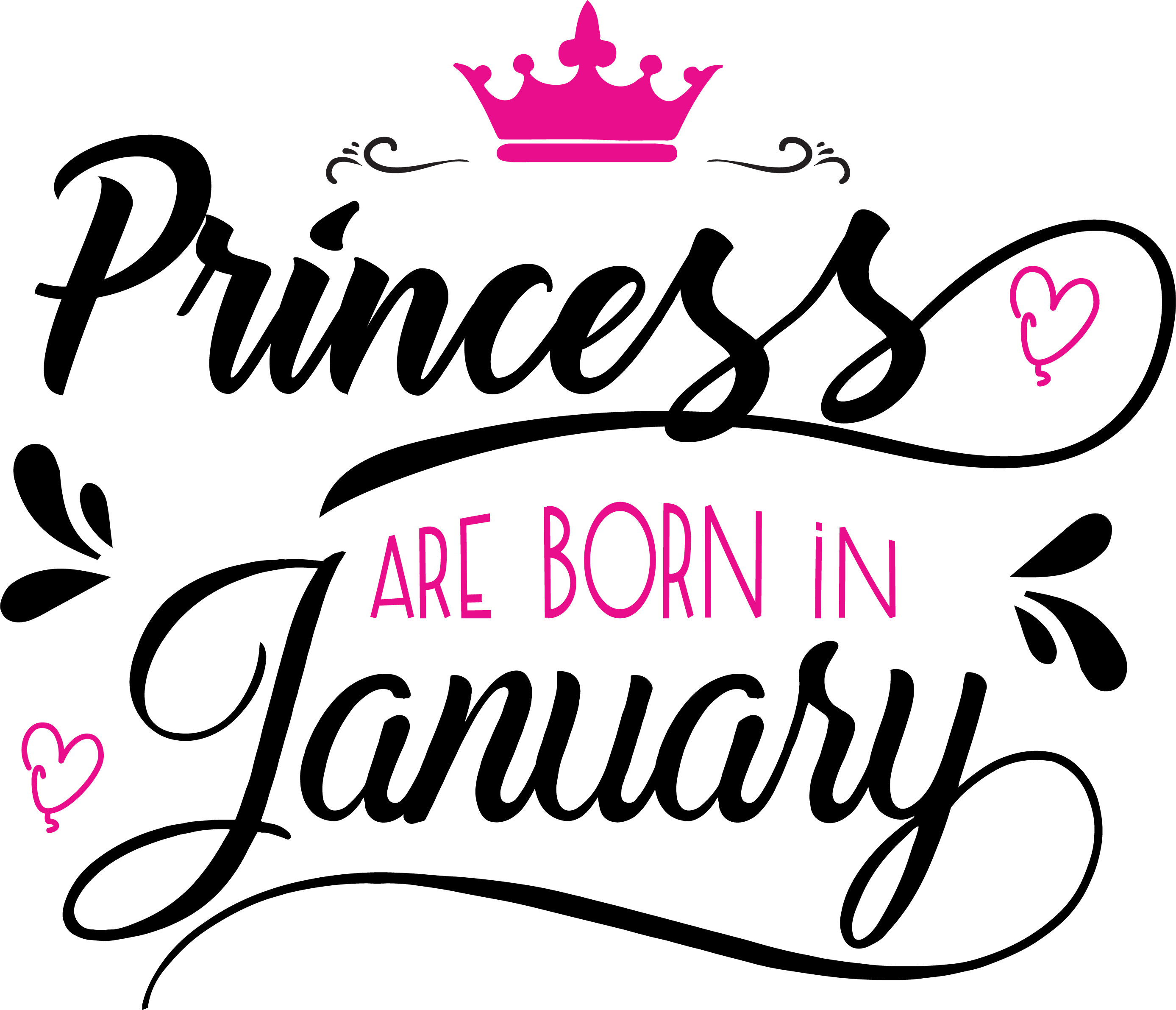 Princess are born in January Svg,Dxf,Png,Jpg,Eps vector file example image 2