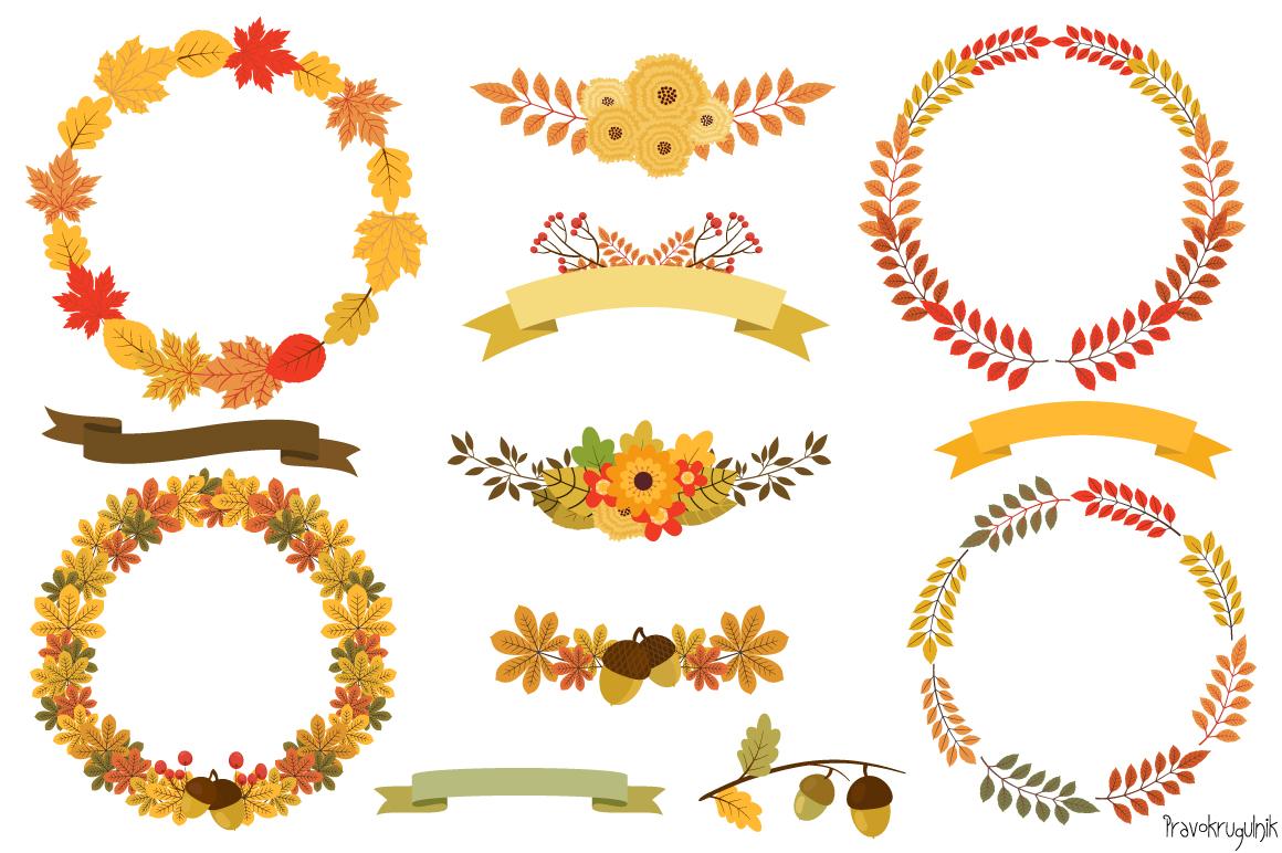 Autumn Wreaths Clipart, Fall Wreath Set
