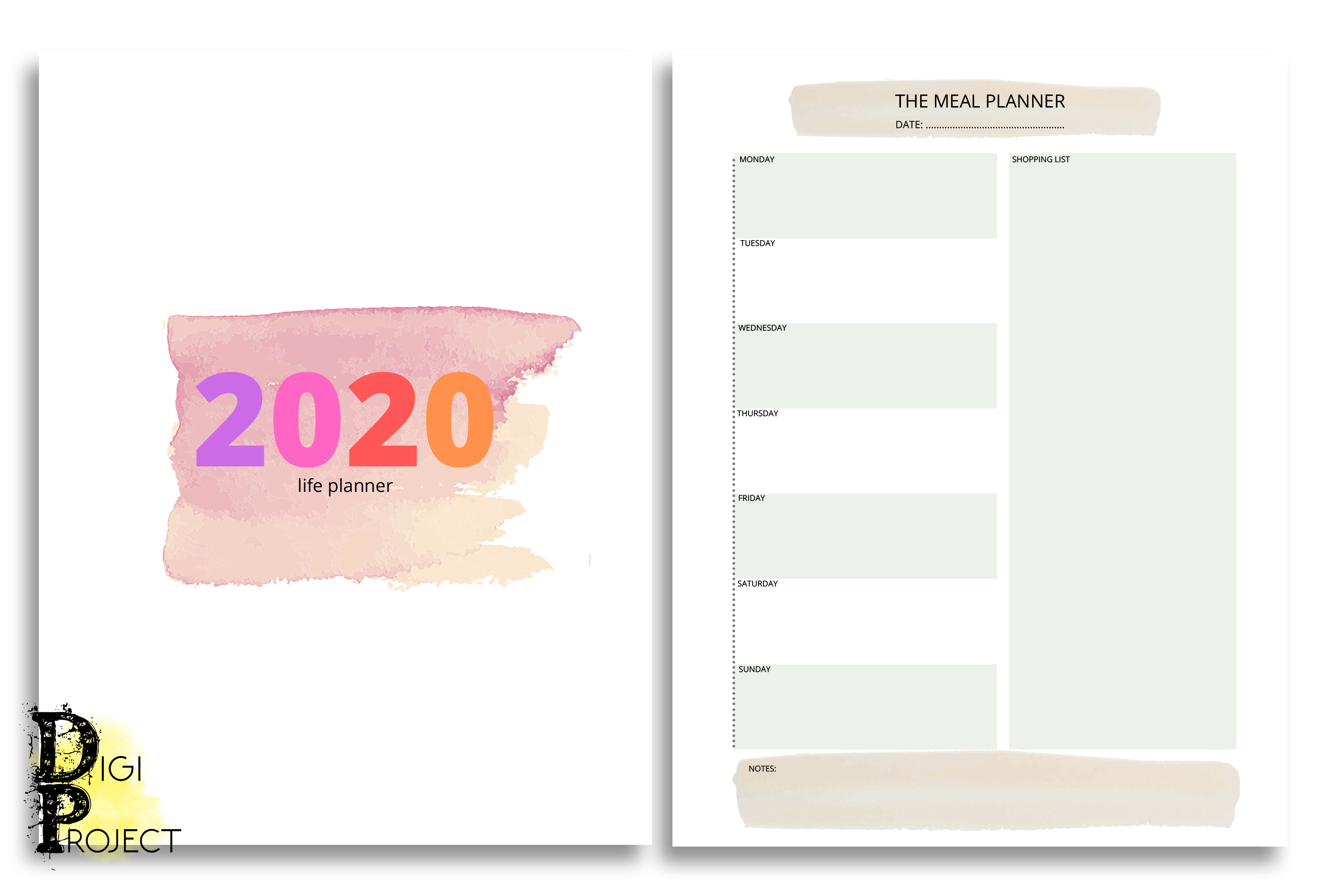 Printable Watercolor 2020 Life Planner Kit example image 6