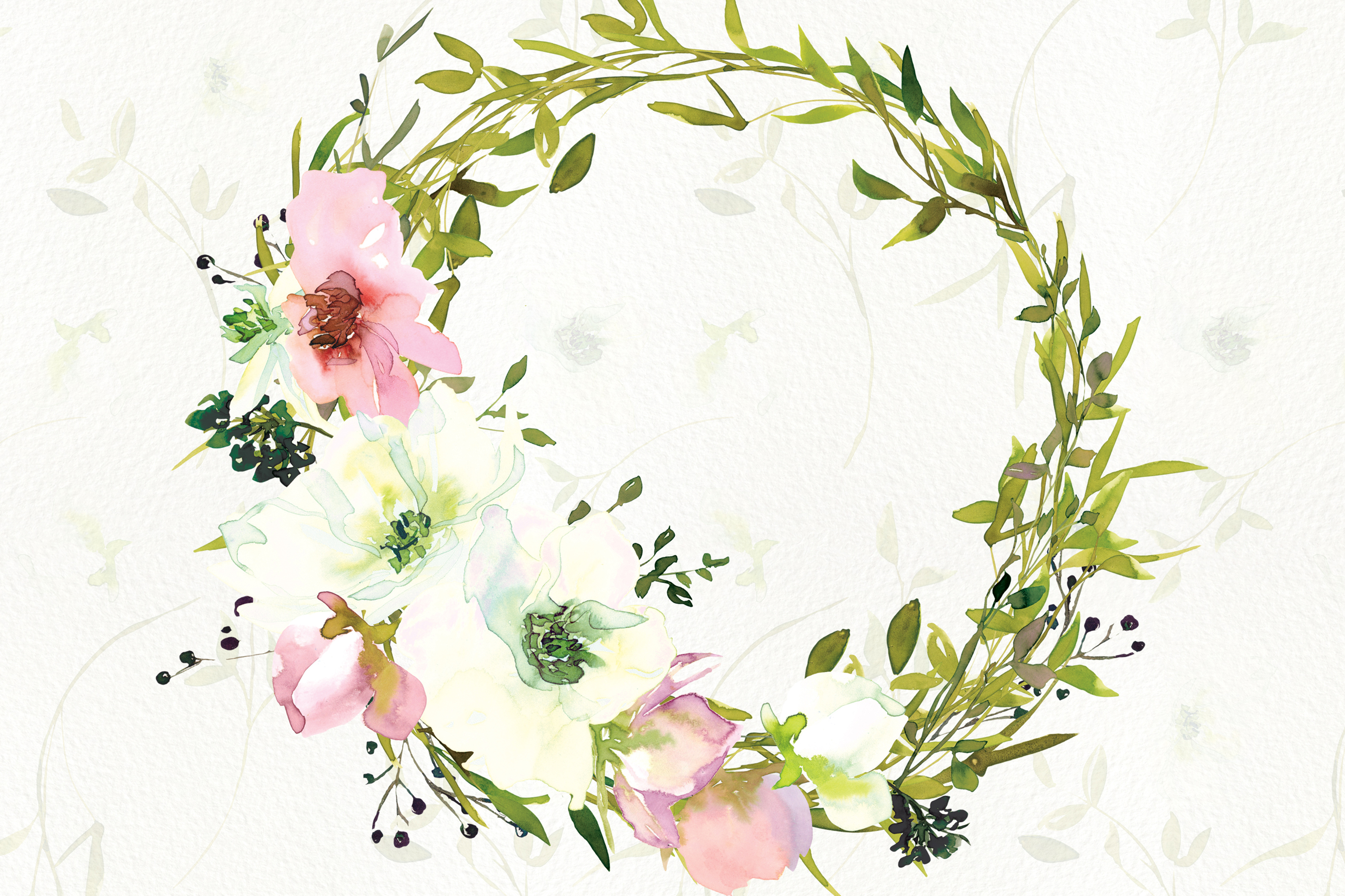 Watercolor Blush and WhiteRose Clipart and Wreaths example image 4