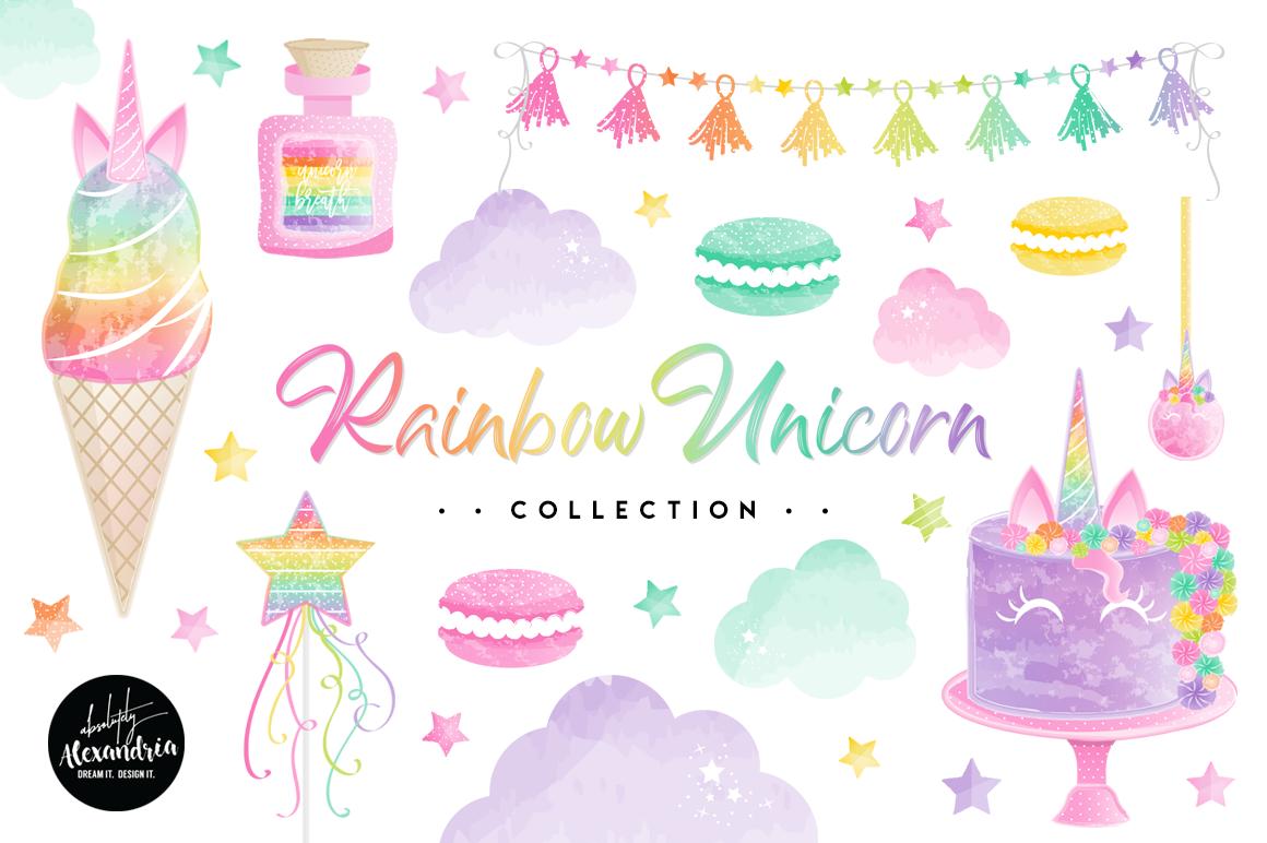Rainbow Unicorn Clipart Graphics & Digital Paper Patterns Bundle example image 1
