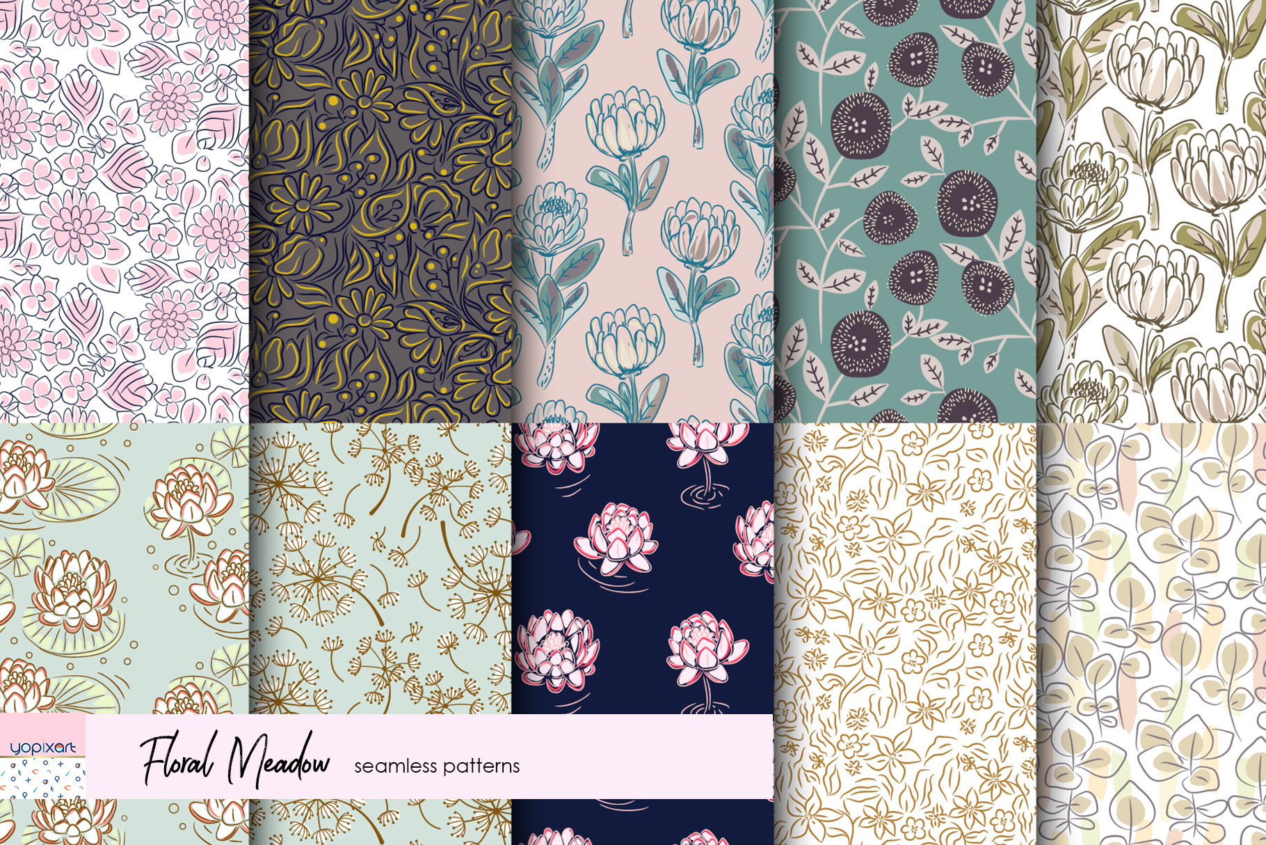 Floral Meadow - Seamless Patterns example image 3