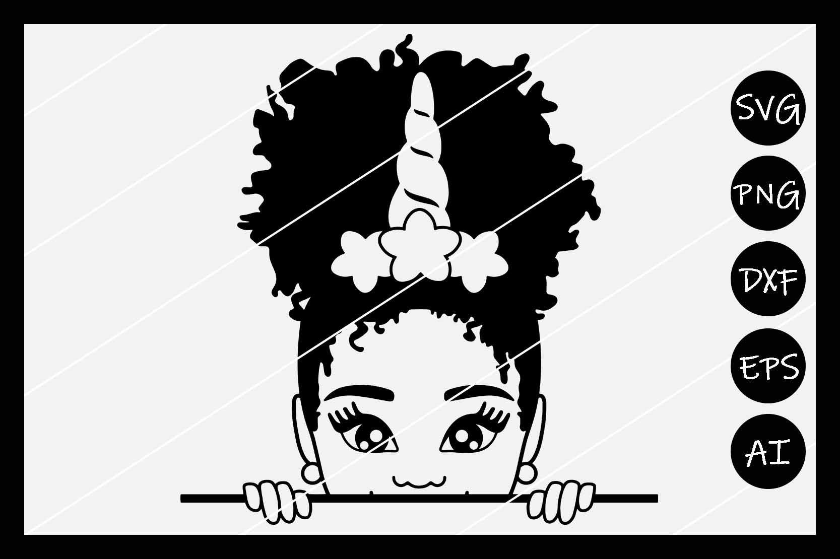African American Afro Girl Puff SVG, Silhouette Cameo, Cut example image 2