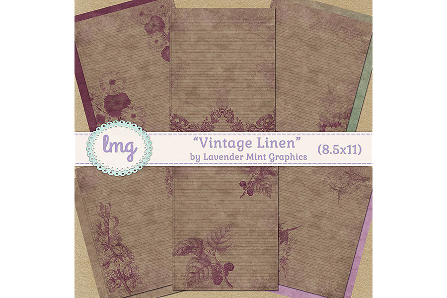 Vintage Linen Journal Papers example image 1