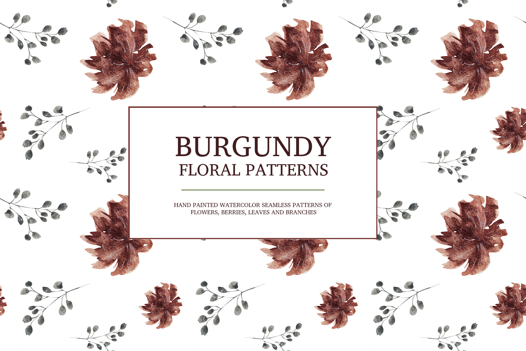 Burgundy floral seamless patterns, Seamless peony pattern example image 2