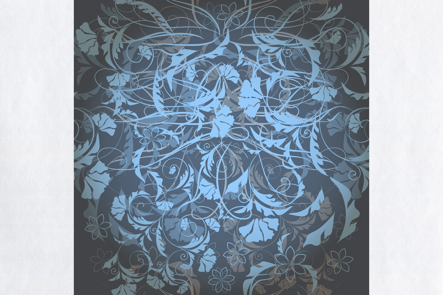 Floral Wallpaper Pattern With Blue Ornament