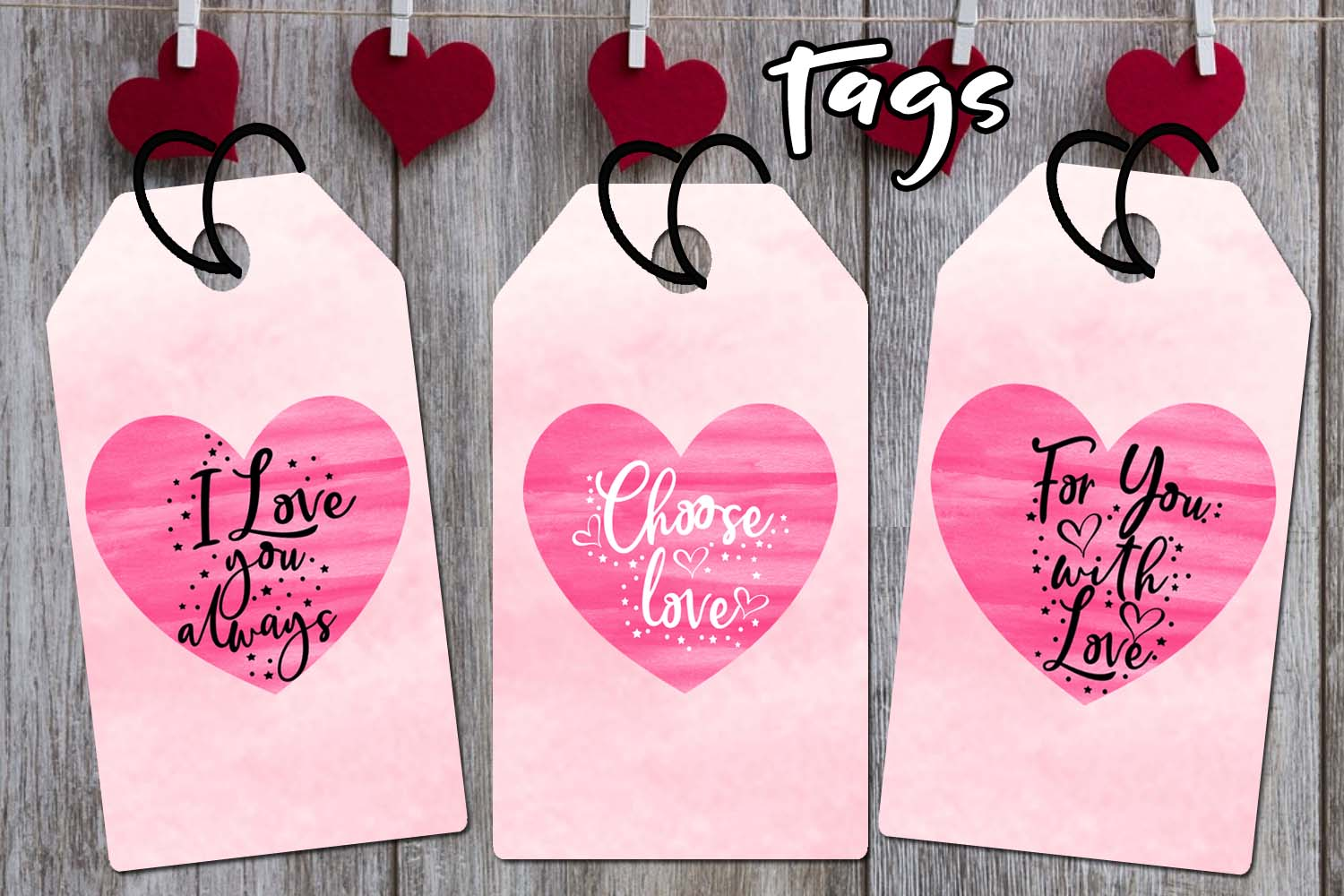 Valentines Day Cards-Posters-Tags-Heart Overlay Cliparts example image 7