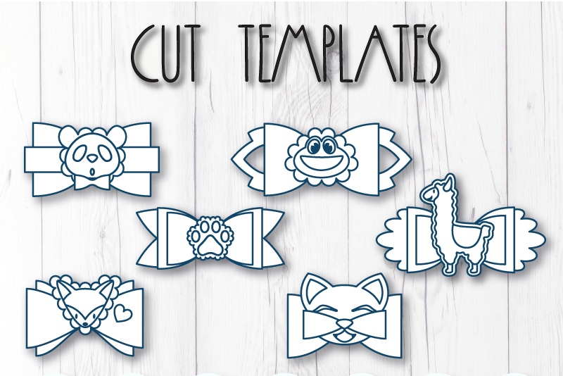 6 Hair bow template SVG, Animal faux leather bow template example image 8