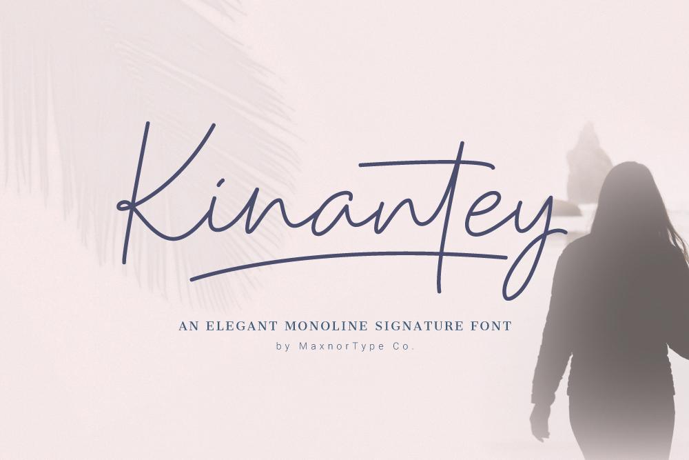 Kinantey - Monoline Signature Font example image 1
