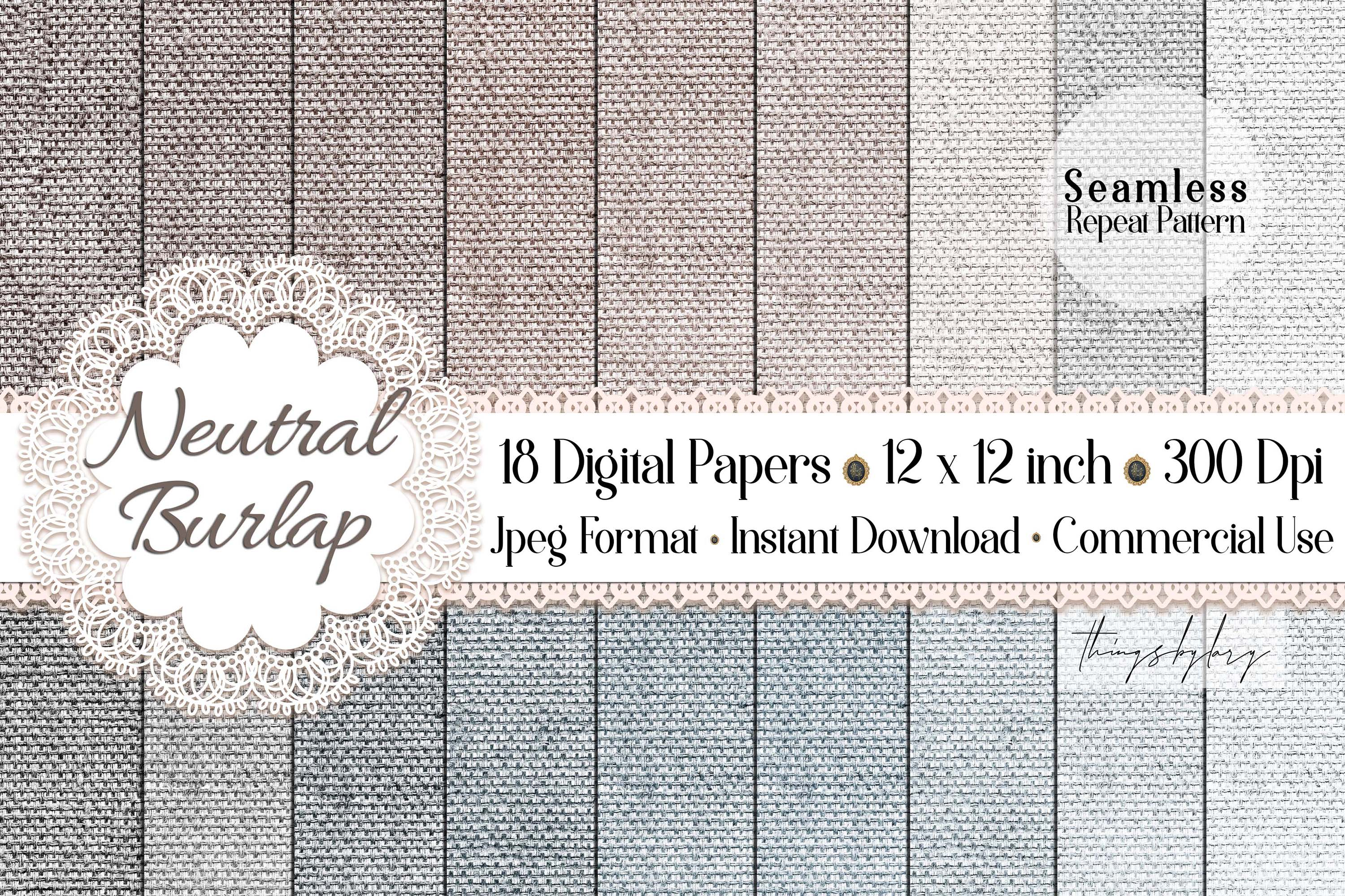 18 Seamless Realistic Neural Linen Burlap Digital Papers example image 1