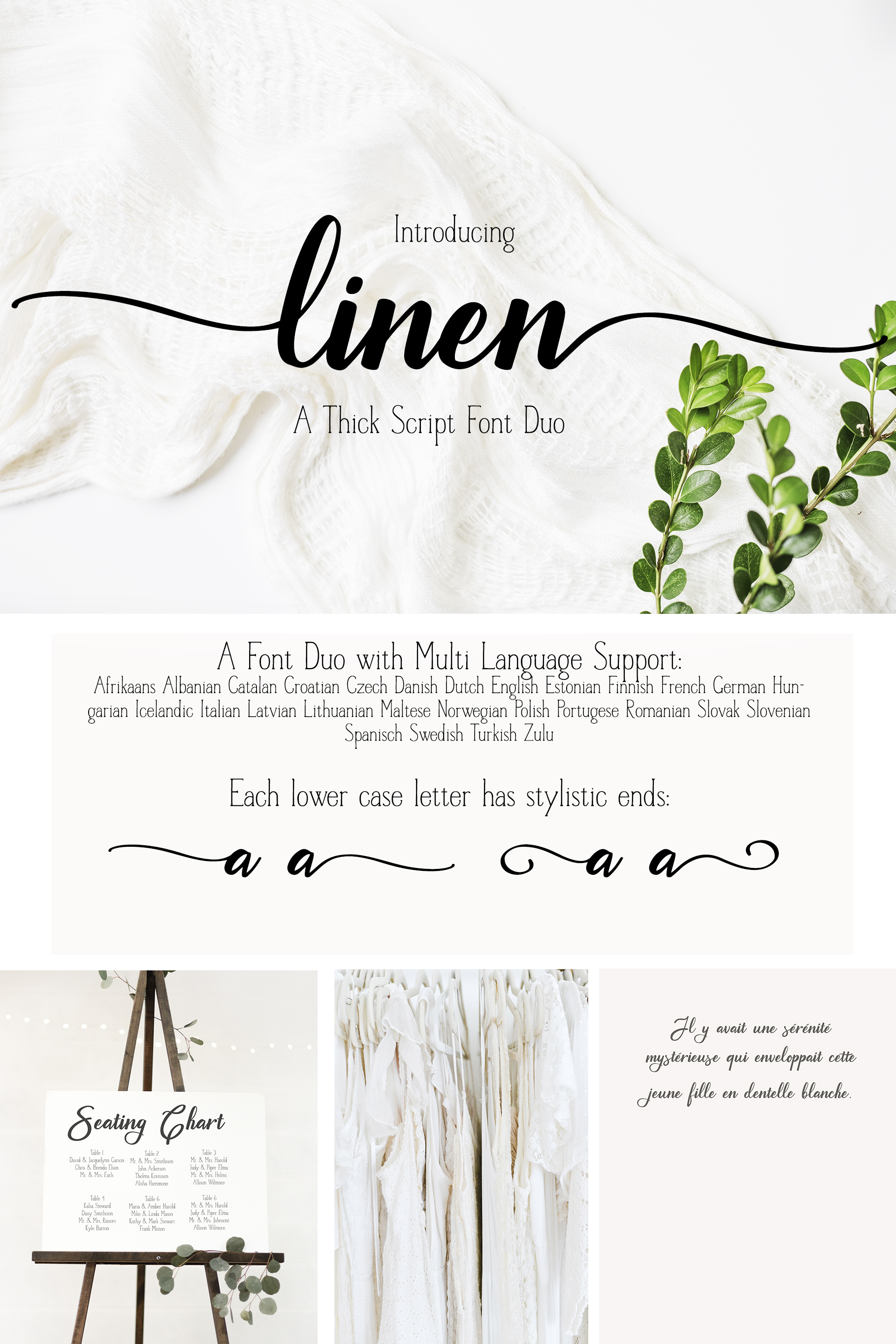 A Font Duo - LINEN - Thick Script paired with a serif example image 10
