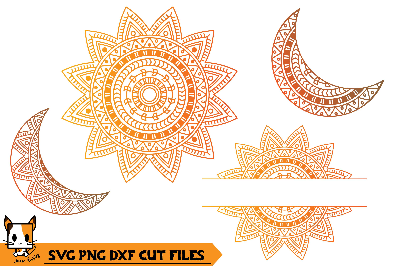 Sun & Moon Monogram - Mandala SVG PNG DXF Cut Files example image 1