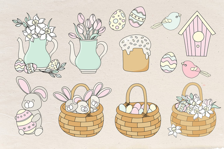 HAPPY EASTER Seamless Pattern Vector Illustration Set example image 9