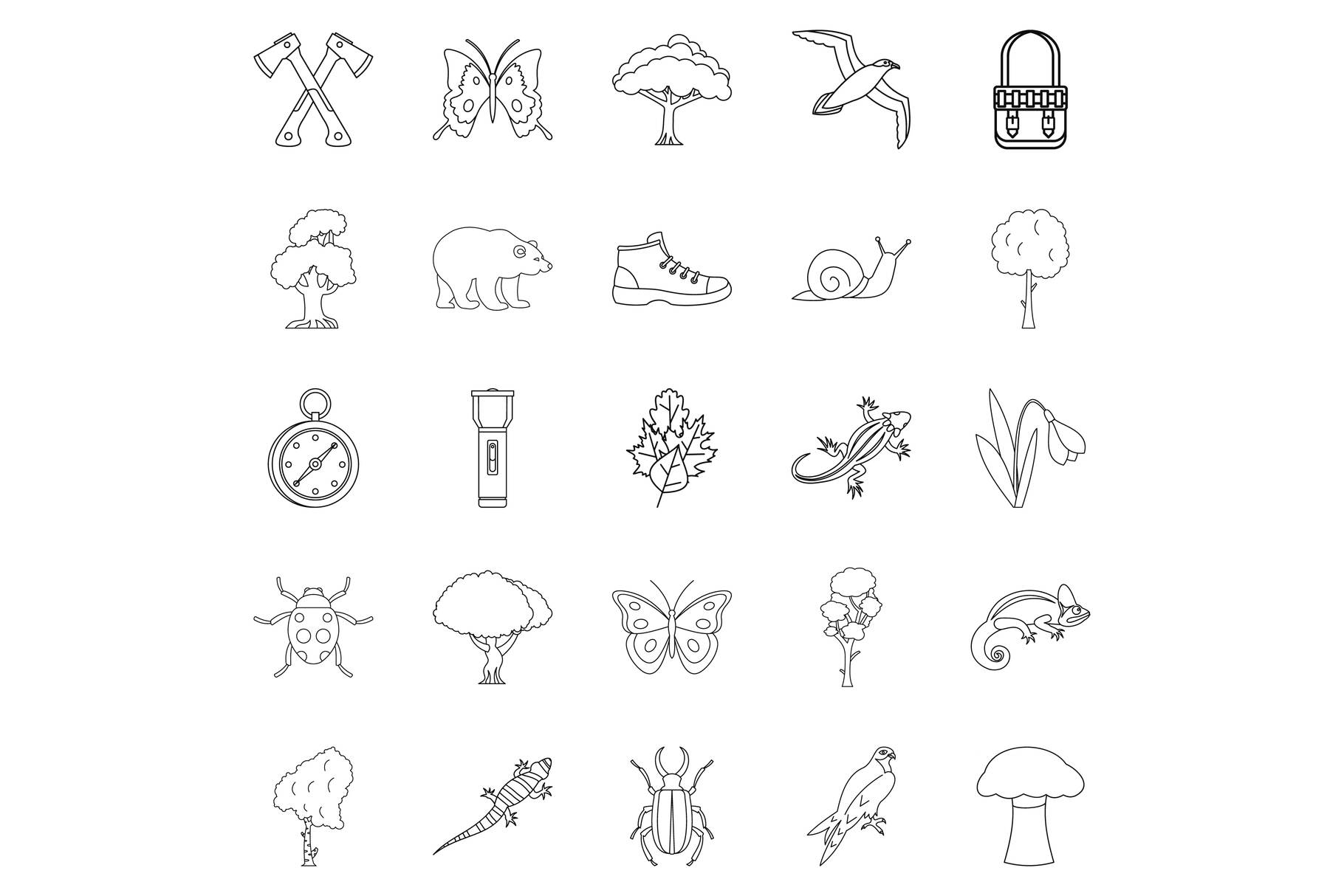 Dangerous territory icons set, outline style example image 1