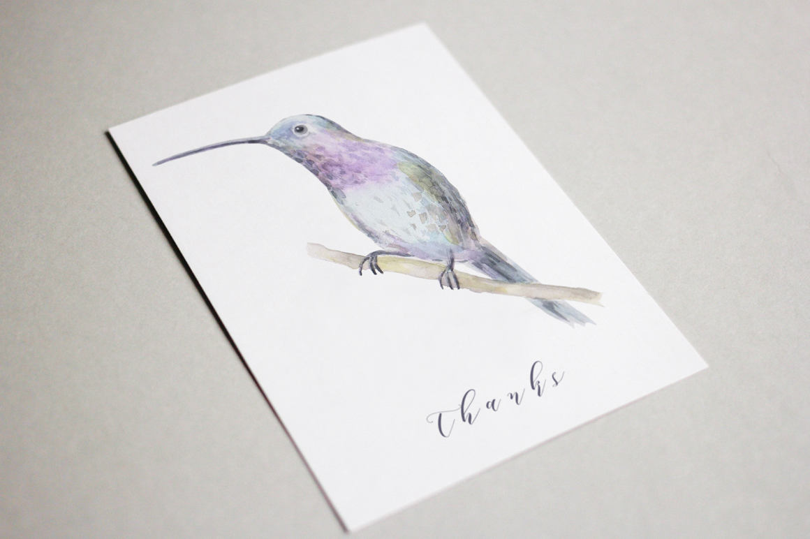 Watercolor birds set example image 4