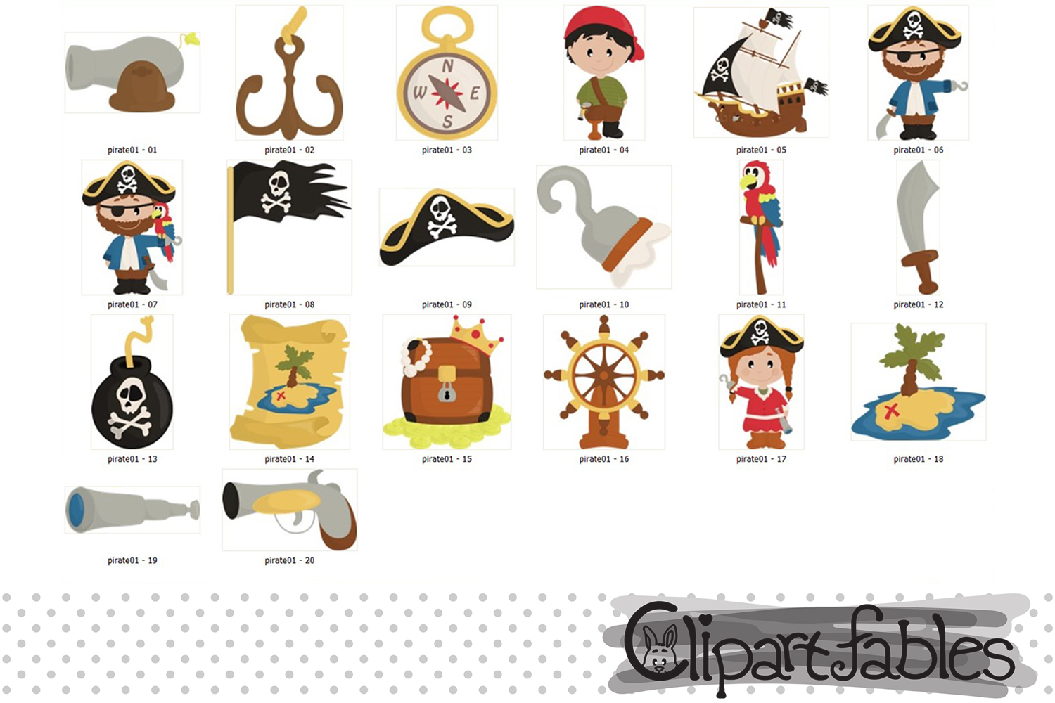 PIRATE clipart, Ahoy clip art, Cute pirate theme example image 2