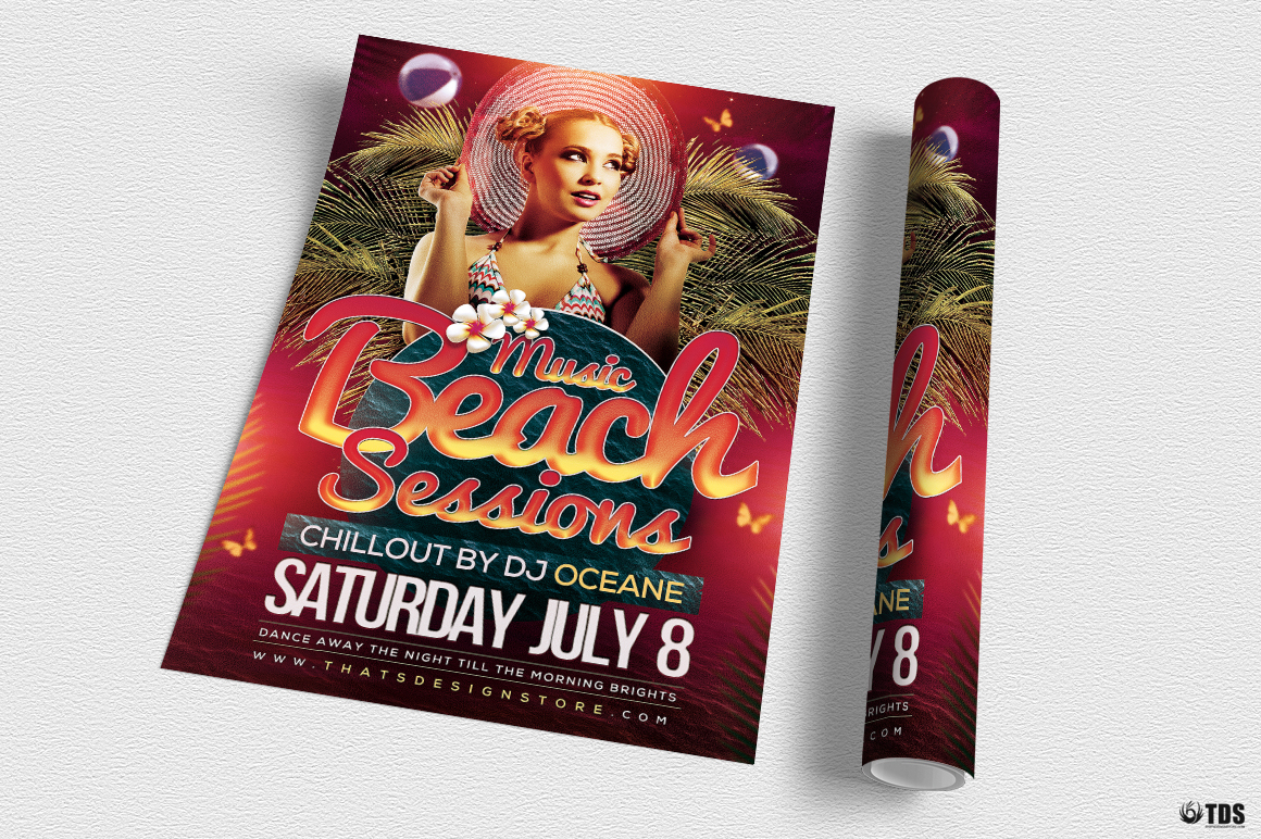 Beach Night Sessions Flyer Template example image 3