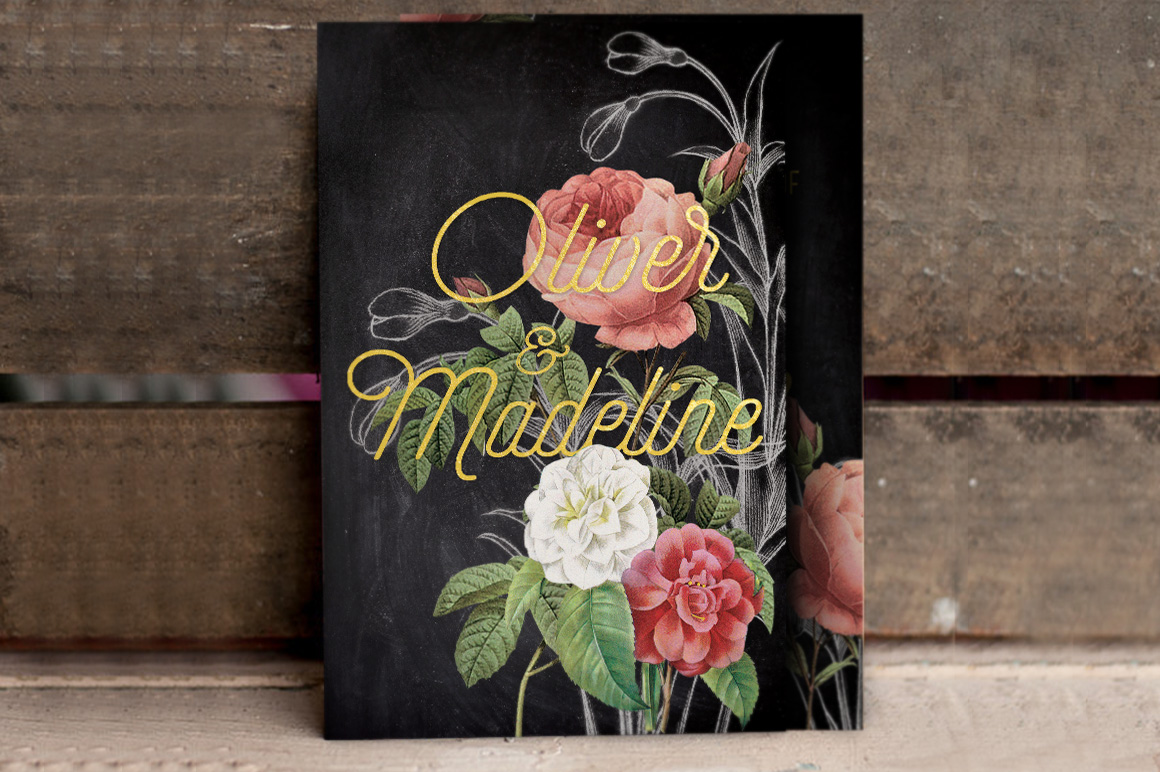 Hand Drawn Floral Wedding Invitation example image 4