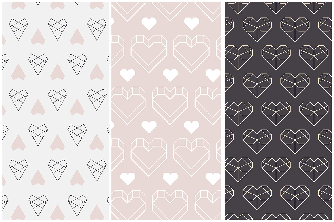 Geometric Hearts Patterns example image 5