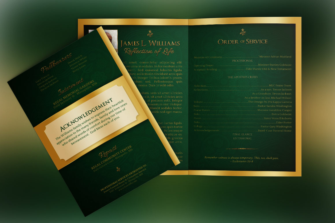 Green Regal Funeral Program Template example image 6