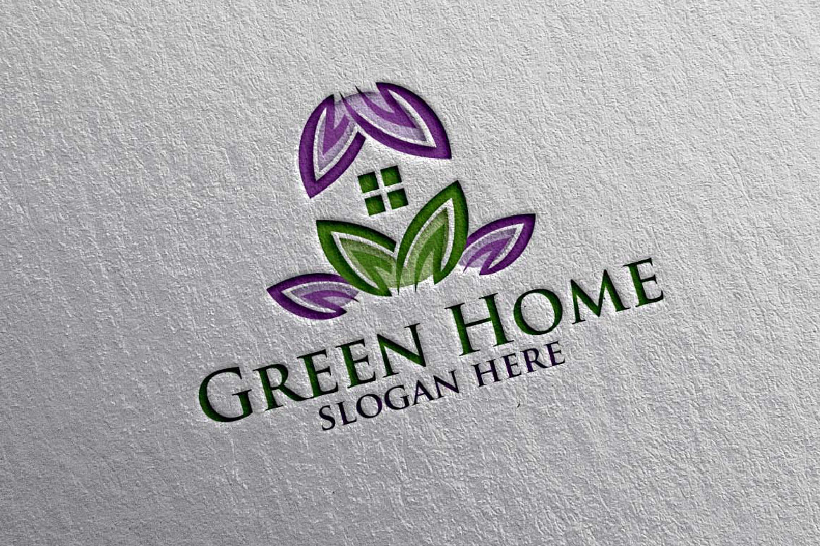 Real estate Logo, Green Home Logo 16 example image 4