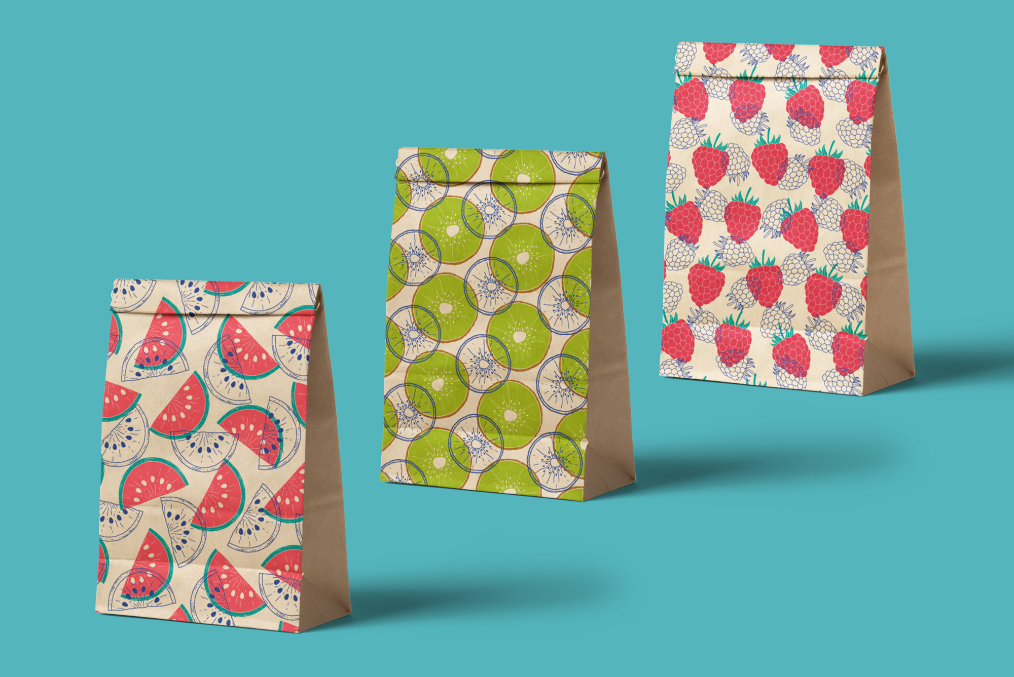Fruits. Vector patterns. example image 3