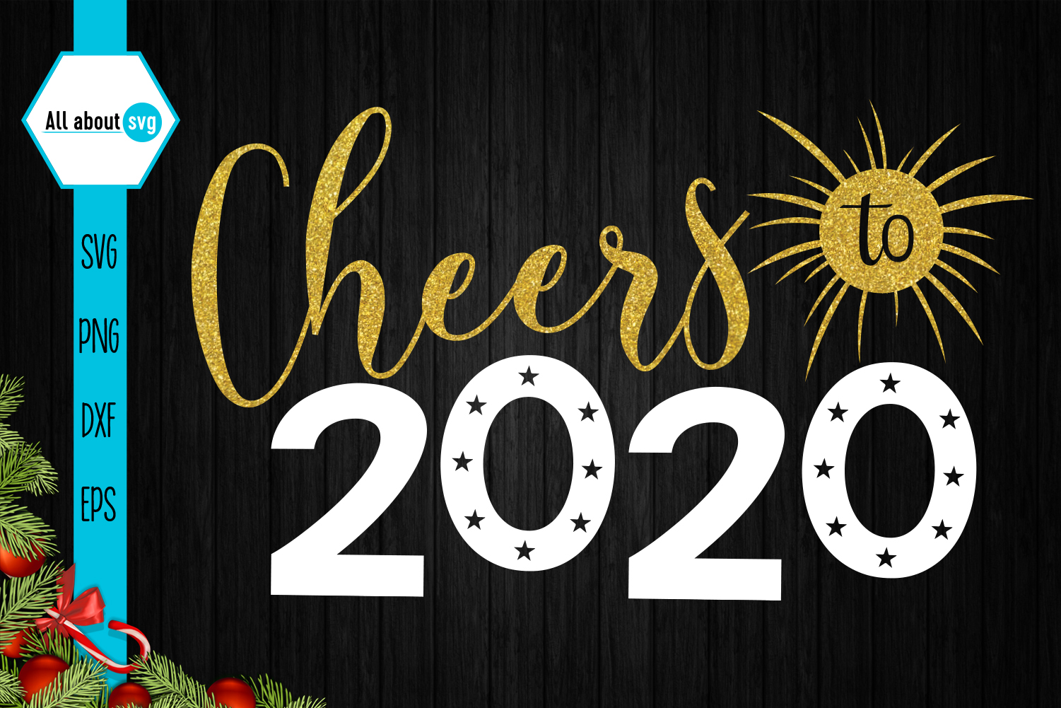 Cheers To 2020 Svg, New Year Glitter Svg example image 2