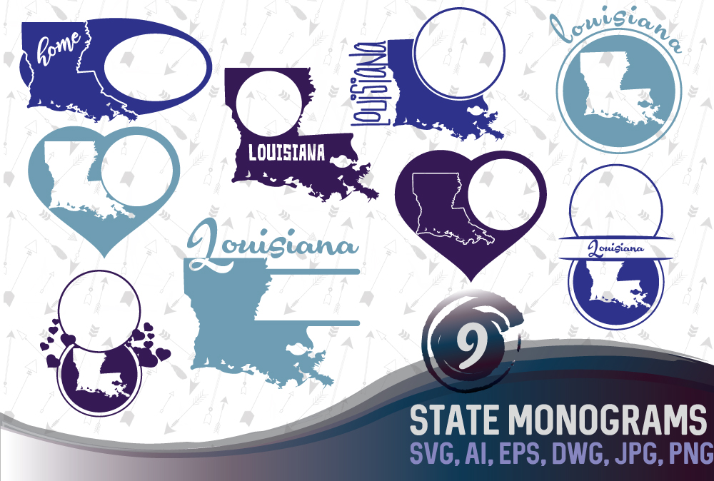 Louisiana Monograms SVG, JPG, PNG, DWG, CDR, EPS, AI example image 1