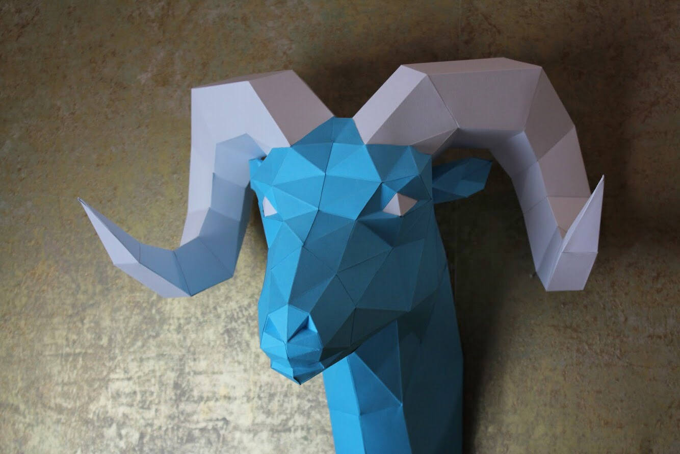 Diy Paper Sculpture - Ram Head, Paper Trophy, Animal Trophy, Loft Decor, Wall Decor, 3D papercraft model, animal head, lowpoly paper, DIY example image 5